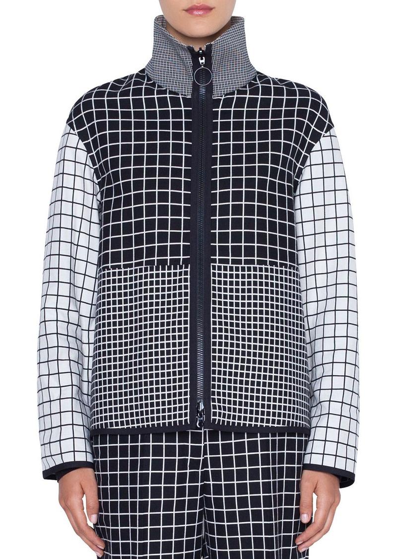 Akris Punto Mixed-Grid Stand-Collar Zip-Front Jacket