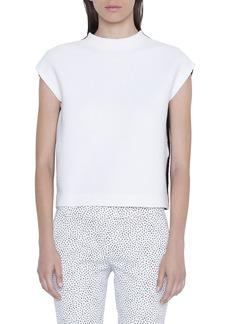 Akris Punto Mock-Neck Bicolor Cap-Sleeve Shirt