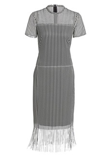 Akris Punto Monochrome Fringe Hem Midi Dress