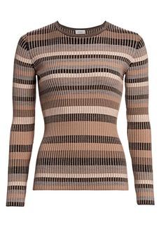 Akris Punto Multi Striped Ribbed Wool Sweater