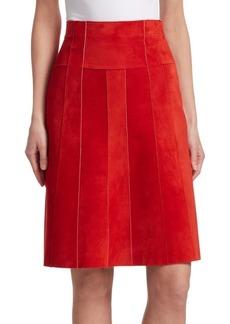 Akris Punto Paneled Suede A-Line Skirt