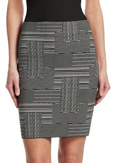 Patchwork Jacquard Pencil Skirt
