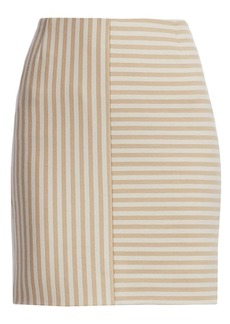 Akris Punto Patchwork Stripe Jersey Mini Skirt