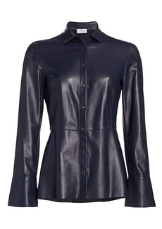 Akris Punto Perforated Leather Peplum Blouse