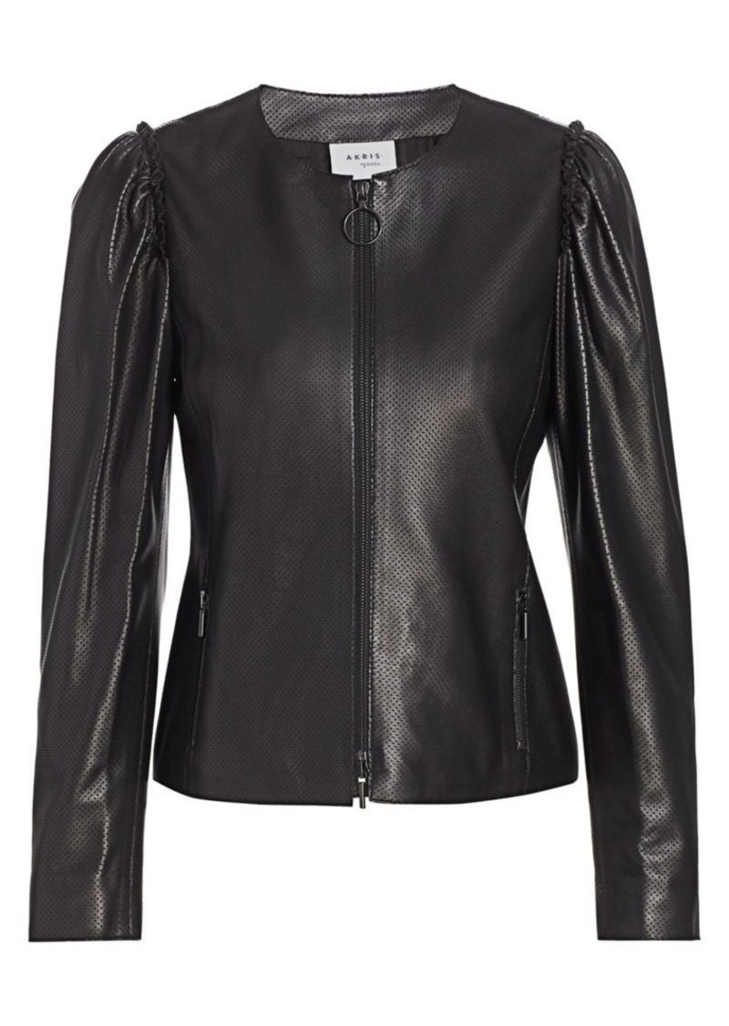 Akris Punto Perforated Mini Ruffle Leather Jacket