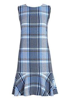 Akris Punto Plaid Tweed Flounce Hem Shift Dress