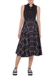 Akris Punto Pleated Windowpane Midi Skirt