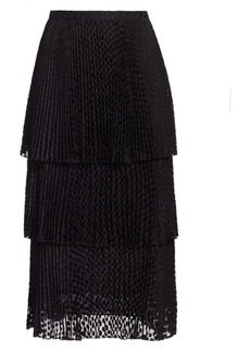 Akris Punto Polk Dot Devoré Tiered Midi Skirt