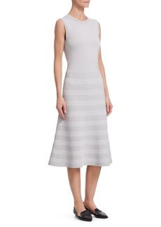 Akris Punto Ribbed-Stripe Flared Dress