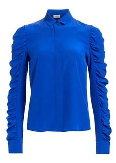 Akris Punto Ruched Sleeve Silk Blouse