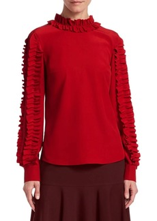 Akris Punto Ruffle Trim Silk Blouse