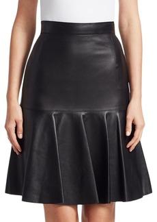 Akris Punto Ruffled Leather Fit-&-flare Skirt