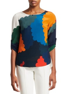 Akris Punto Scallop Multicolor Print Silk Blouse
