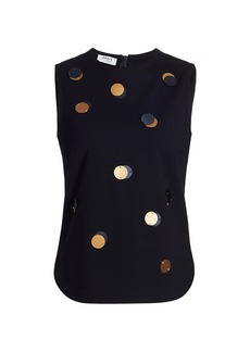Akris Punto Sequin Dot Jersey Sleeveless Top