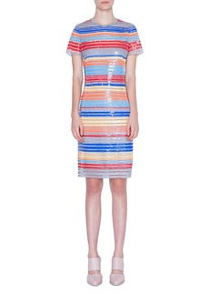 Akris Punto Sequined Stripe-Embroidered Dress