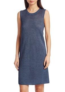 Akris Punto Sheer Horizontal Stripe Wool & Silk Sleeveless Dress