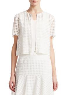 Akris Punto Short-Sleeve Lace Zip-Up Jacket