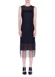 Akris Punto Sleeveless Mesh Fringe-Hem Dress