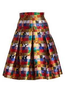 Akris Punto Square Jacquard A-Line Skirt