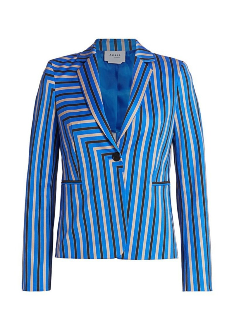 Akris Punto Square Stripe Stretch-Cotton Blazer