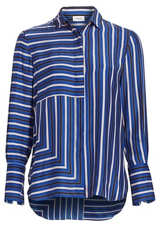Akris Punto Square Stripes Silk Tunic Blouse