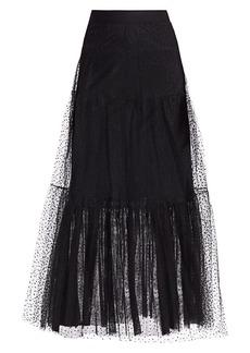 Akris Punto Starry Sky Tiered Tulle Midi Skirt