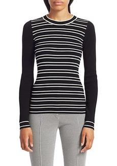 Akris Punto Stripe Long-Sleeve Stretch-Wool Rib-Knit Sweater