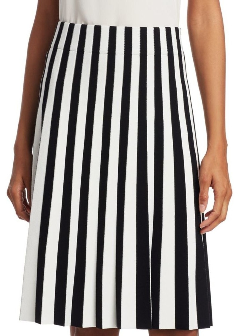 Akris Punto Stripe Pleated Skirt