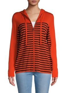 Akris Punto Striped Full-Zip Wool Hoodie