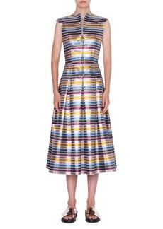 Akris Punto Striped Metallic Cotton Zip-Front Dress