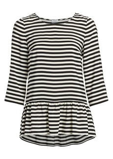 Akris Punto Striped Silk Peplum Blouse