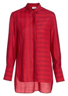 Akris Punto Tonal Stripe High-Low Blouse