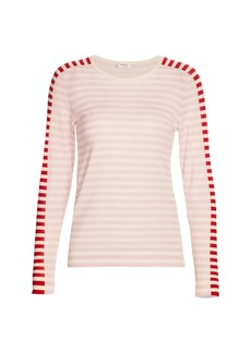 Akris Punto Tricolor Striped Wool Knit Pullover Top