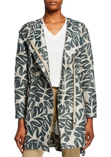 Akris Punto Tropical-Leaf Jacquard Hidden Zip Coat