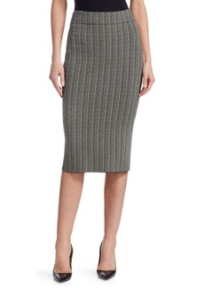 Two-Tone Knit Pencil Skirt