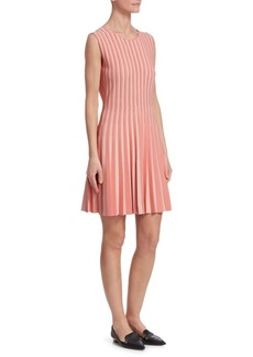 Akris Punto Two-Tone Pleated Fit-and-Flare Dress