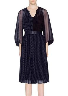 Akris Punto Two-Tone Polka Dot Belted Silk Dress