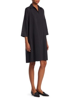 Akris Punto V-Neck oversized Eyelet Detail Shift Dress