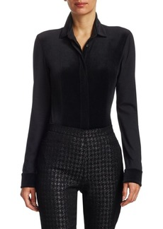 Akris Punto Velvet Jersey Button-Down Blouse