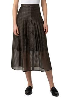 Women's Akris Punto Dot Embroidery Pleat Midi Skirt
