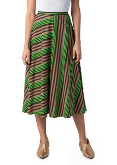 Women's Akris Punto Patchwork Stripe Midi Skirt