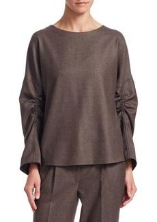 Akris Punto Wool Drawstring-Sleeve Blouse