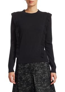 Akris Punto Wool Ruffle-Front Knit Sweater
