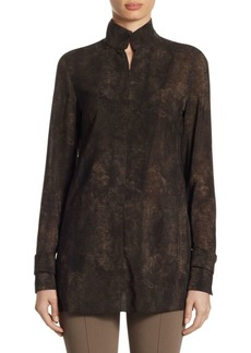 Akris Punto Wool Shearling-Print Blouse