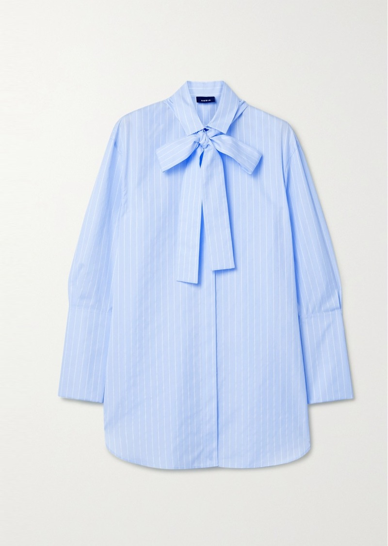 Akris Pussy-bow Striped Cotton-poplin Shirt