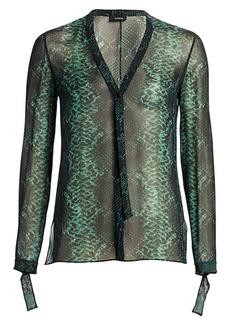 Akris Python-Print Silk Blouse