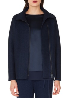 Akris Ray Zip-Front Raglan-Sleeve Cashmere Jersey Jacket