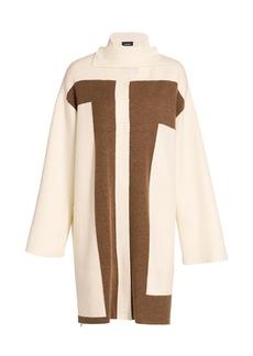 Akris Reversible Intarsia Cashmere Knit Coat