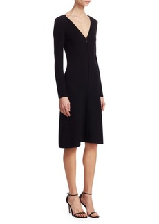 Akris Ribbed V-Neck A-LIne Dress