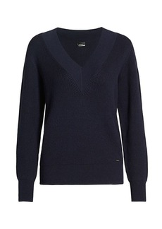 Akris Ribbed Varsity Cashmere & Silk Knit V-Neck Sweater